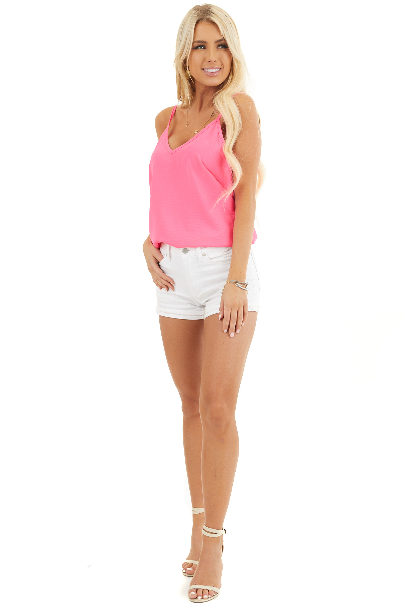 Neon Pink Sleeveless Tank Top with V Neckline and Back front full body
