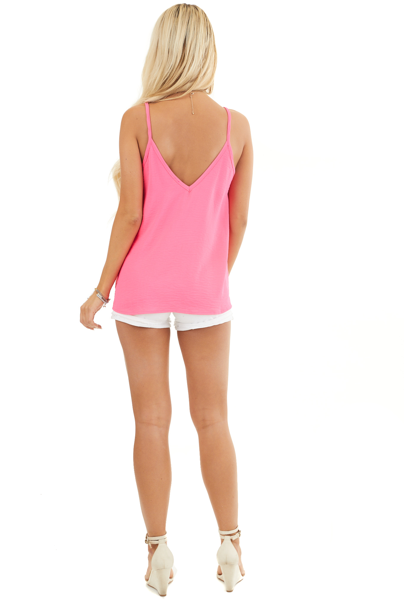 Neon Pink Sleeveless Tank Top with V Neckline and Back back full body