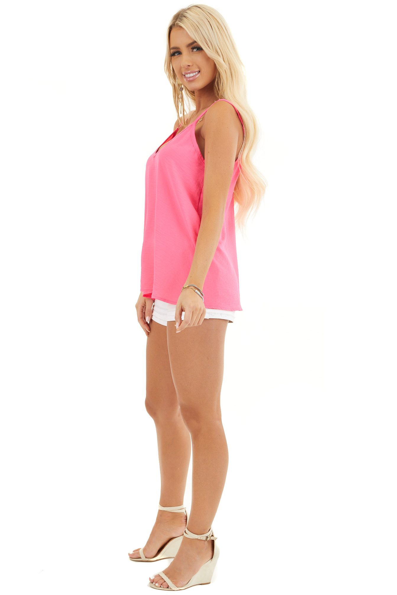 Neon Pink Sleeveless Tank Top with V Neckline and Back side full body