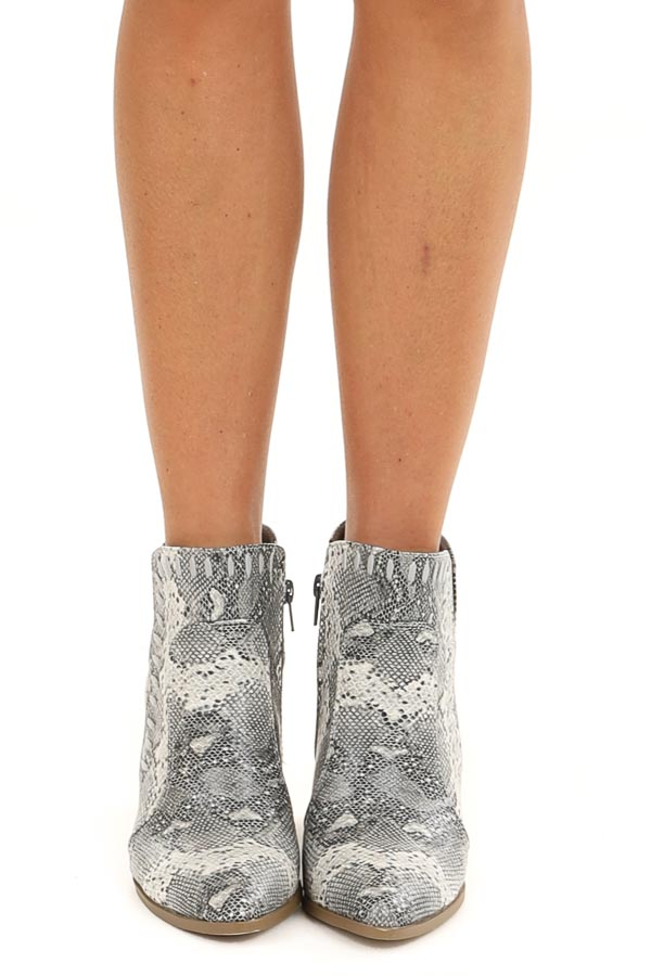 Heather Grey Snake Print Heeled Bootie with Cutout Detail front view
