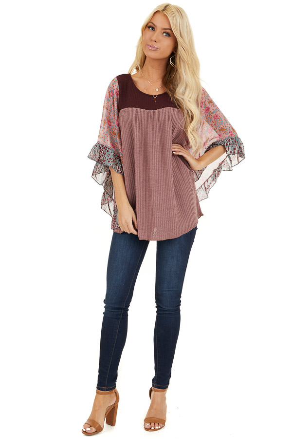 Mauve and Burgundy Waffle Knit Top with Sheer Floral Sleeves front full body