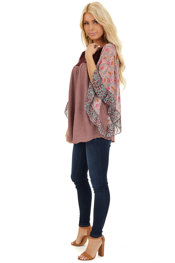 Mauve and Burgundy Waffle Knit Top with Sheer Floral Sleeves side full body