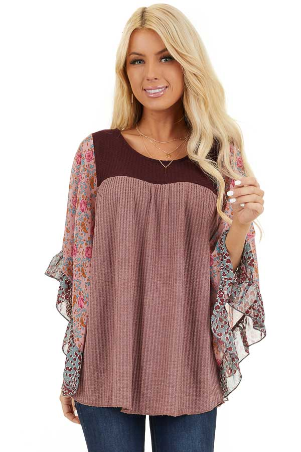 Mauve and Burgundy Waffle Knit Top with Sheer Floral Sleeves front close up