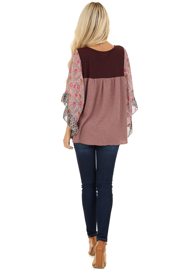 Mauve and Burgundy Waffle Knit Top with Sheer Floral Sleeves back full body