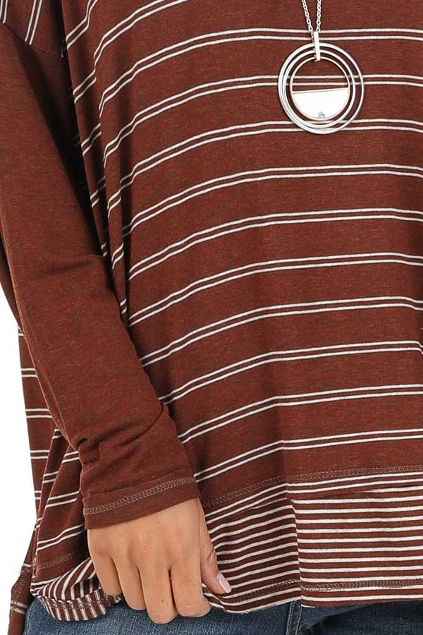 Brick Striped Top with Solid Long Sleeves detail