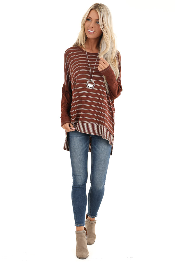Brick Striped Top with Solid Long Sleeves front full body