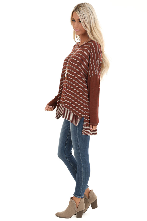 Brick Striped Top with Solid Long Sleeves side full body