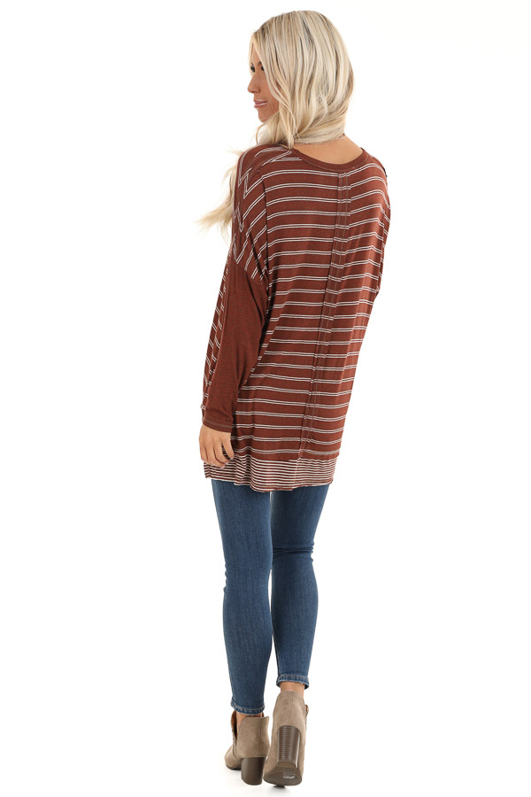 Brick Striped Top with Solid Long Sleeves back full body