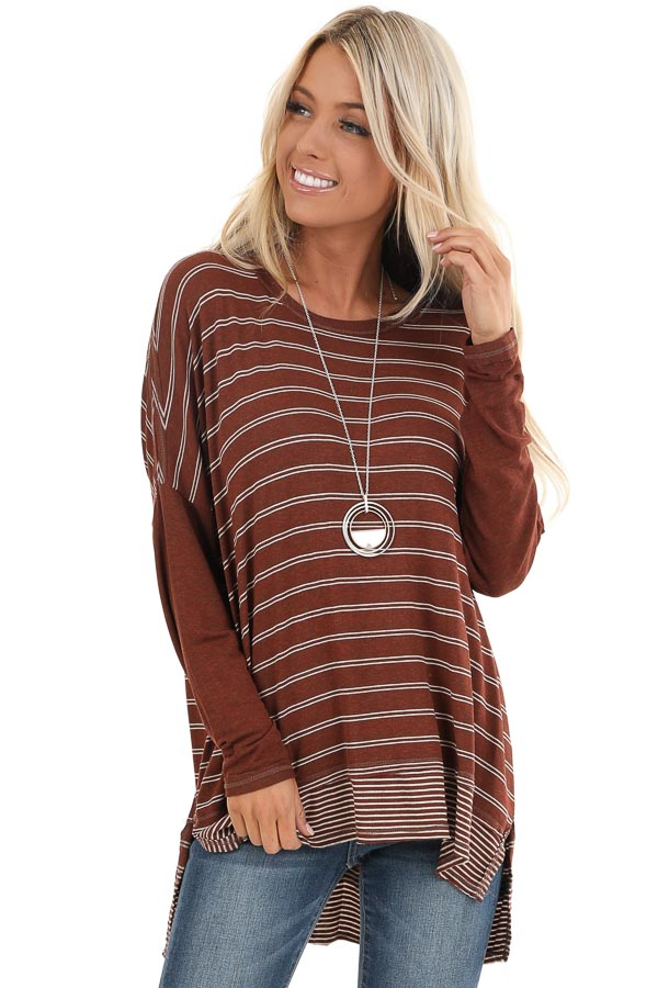 Brick Striped Top with Solid Long Sleeves front close up