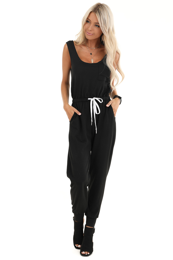 Black Sleeveless Jumpsuit with Adjustable Drawstring Waist front full body