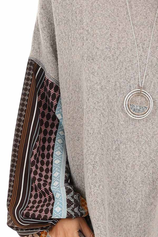 Stone Grey Fleece Top with Multicolor Abstract Print Sleeves detail