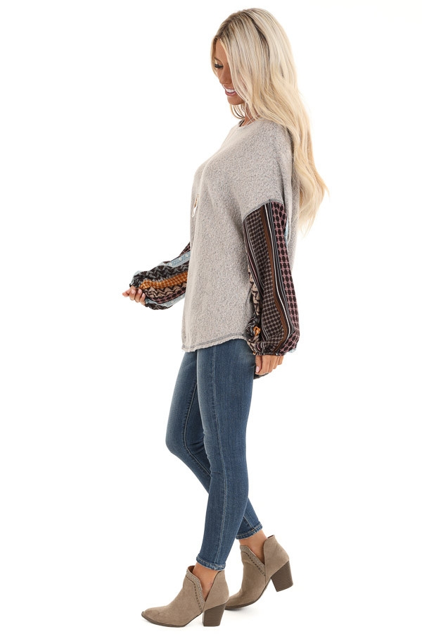 Stone Grey Fleece Top with Multicolor Abstract Print Sleeves side full body
