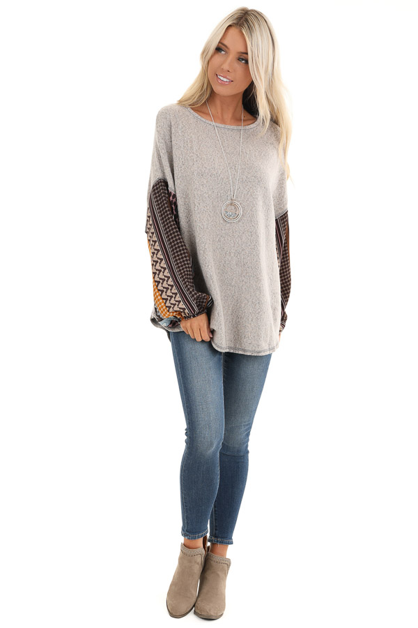 Stone Grey Fleece Top with Multicolor Abstract Print Sleeves front full body