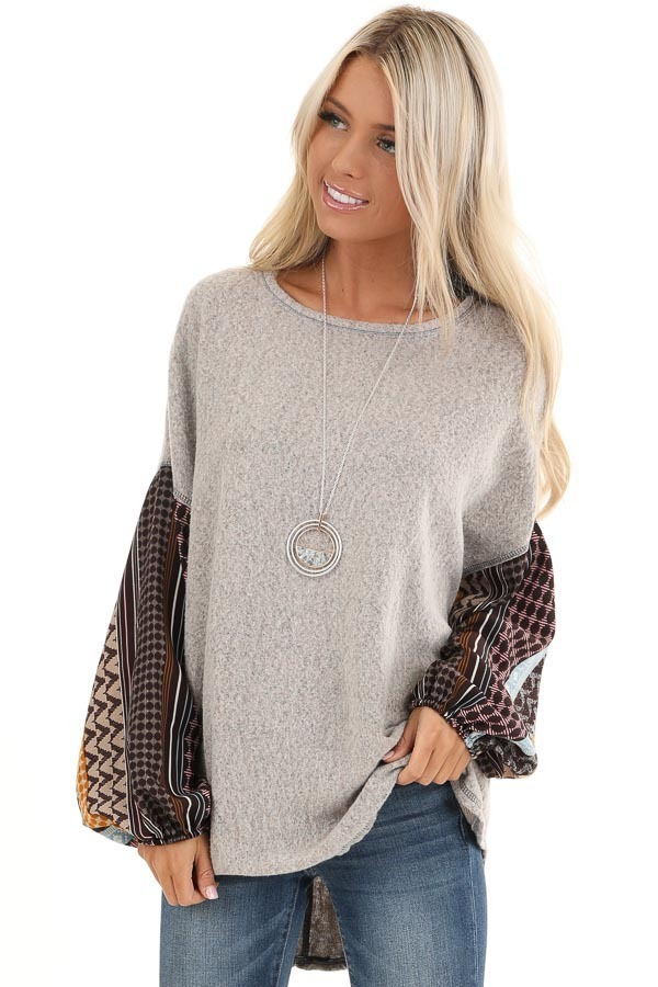 Stone Grey Fleece Top with Multicolor Abstract Print Sleeves front close up