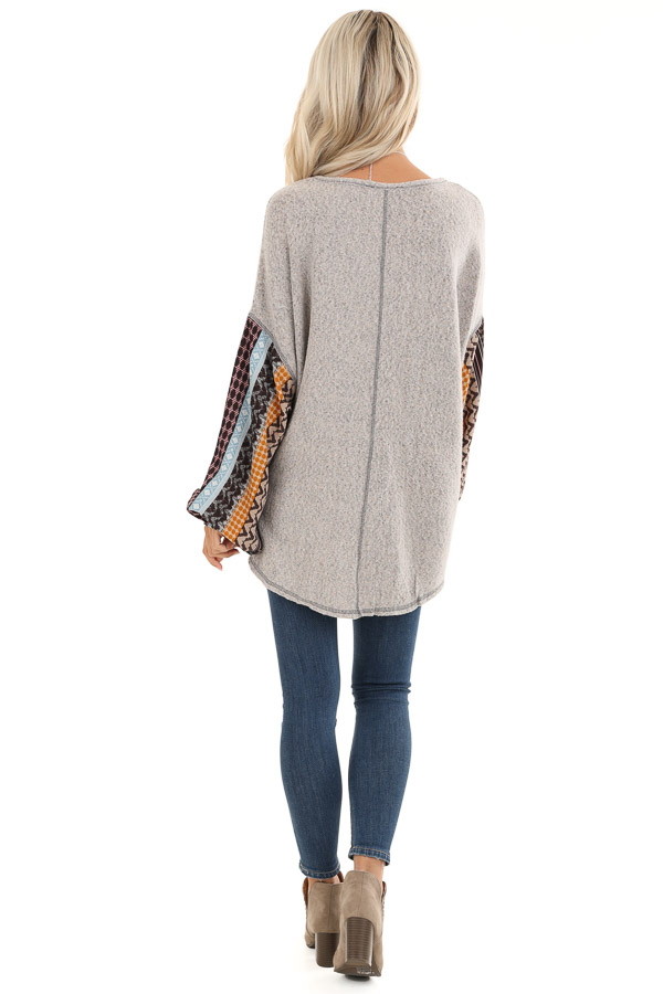 Stone Grey Fleece Top with Multicolor Abstract Print Sleeves back full body