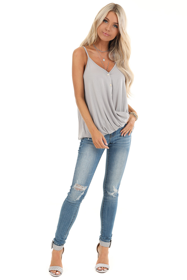 Grey V Neck Button Up Tank with Bubble Hem front full body