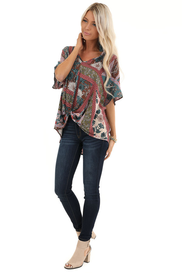 Brick and Teal Floral Print Top with V Neckline and Twist front full body