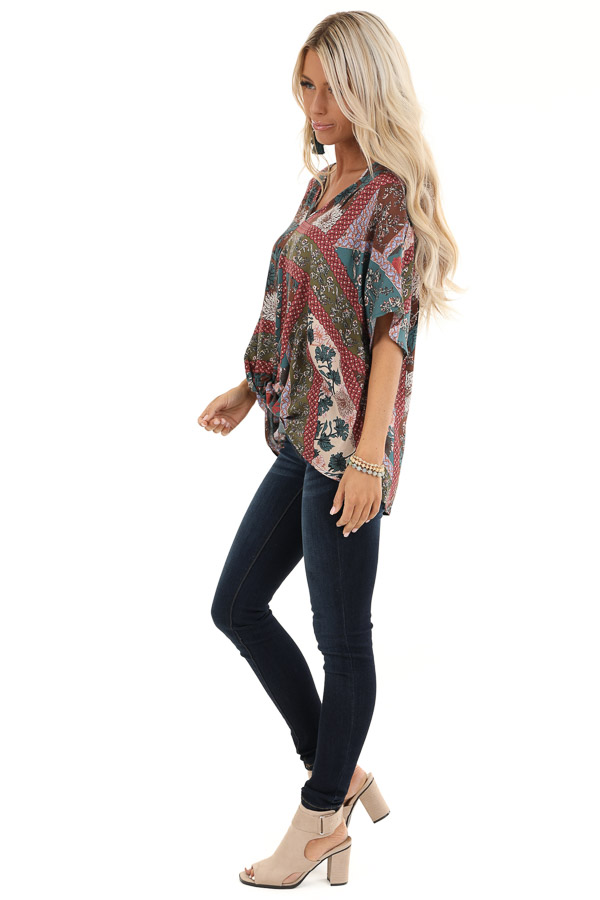 Brick and Teal Floral Print Top with V Neckline and Twist side full body