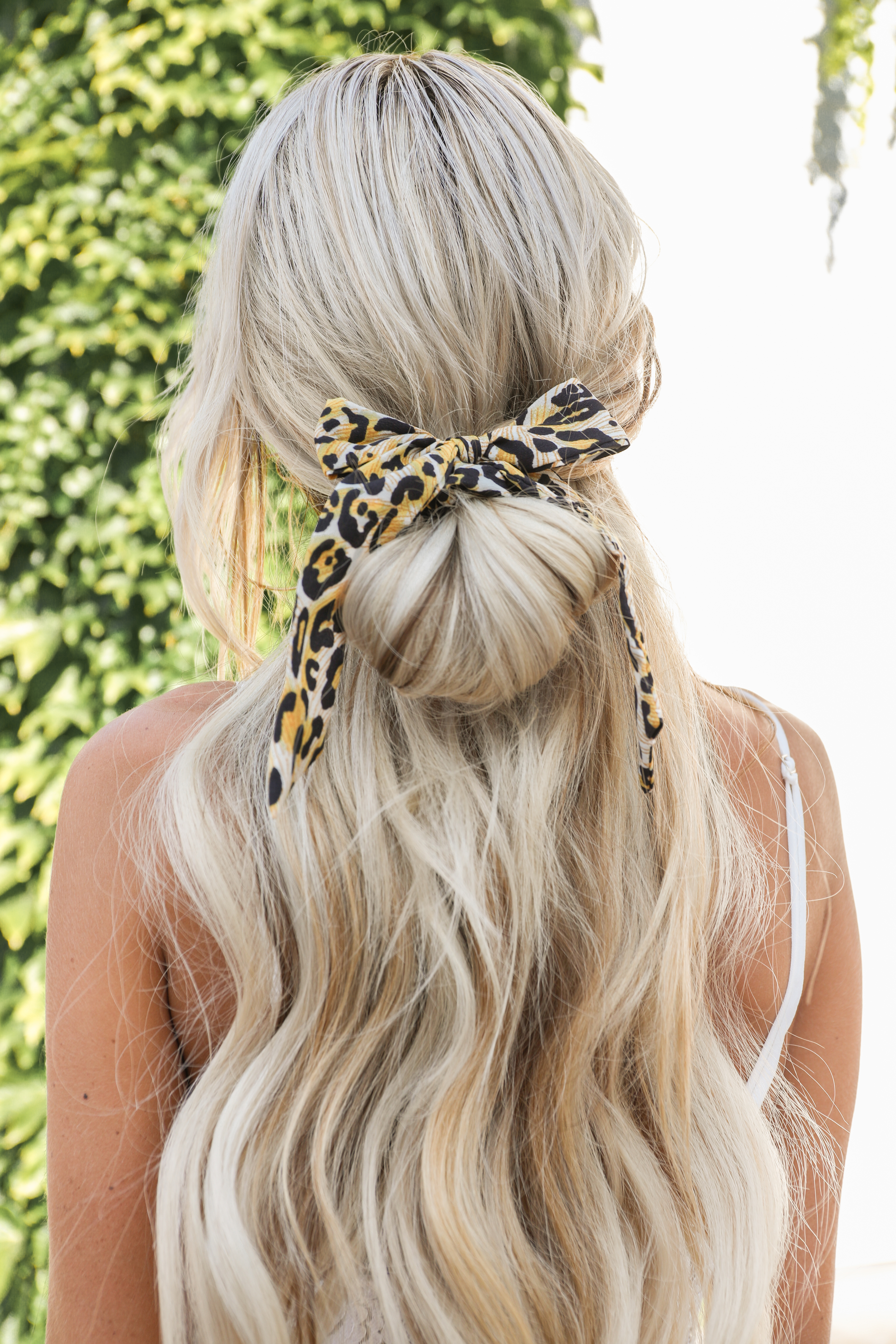 Dandelion and Black Leopard Print Scrunchie with Tie Detail