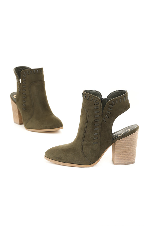 Olive Green Faux Suede Heeled Bootie with Cutout Detail