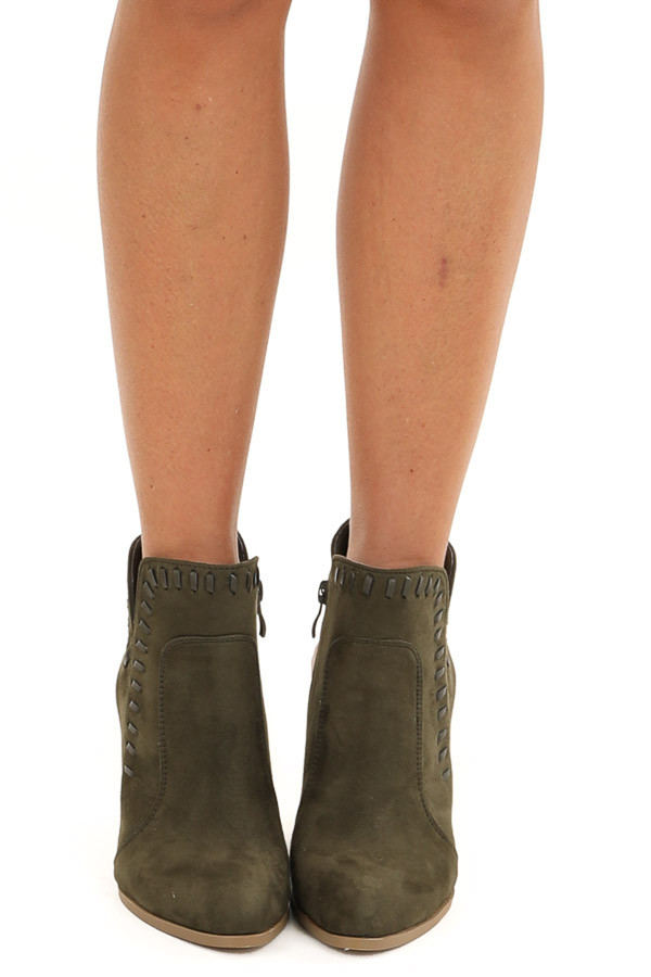 Olive Green Faux Suede Heeled Bootie with Cutout Detail front view