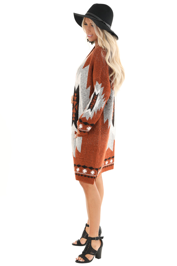 Rust Aztec Print Cardigan with Front Pockets side full body