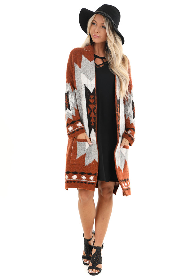 Rust Aztec Print Cardigan with Front Pockets front full body