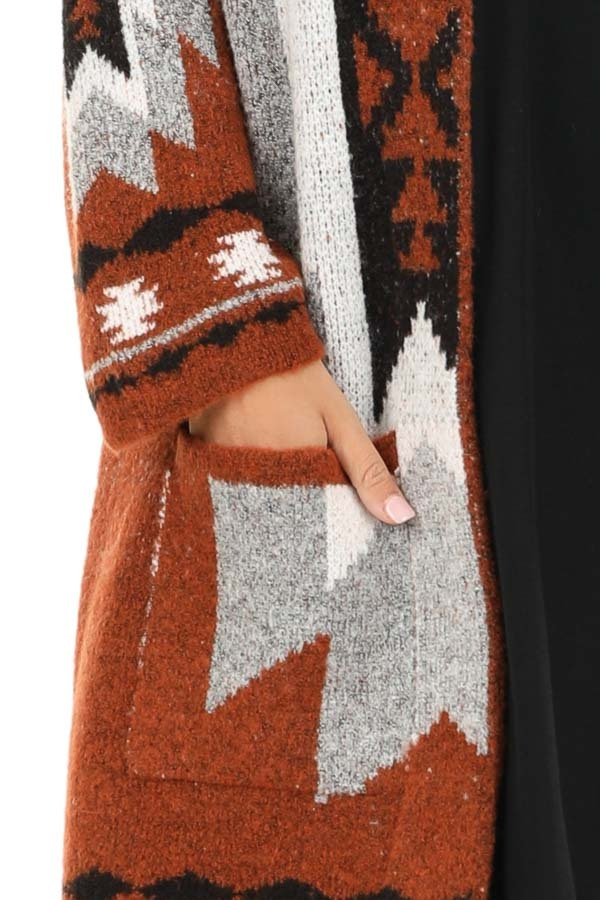 Rust Aztec Print Cardigan with Front Pockets detail
