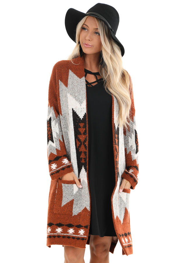 Rust Aztec Print Cardigan with Front Pockets front close up