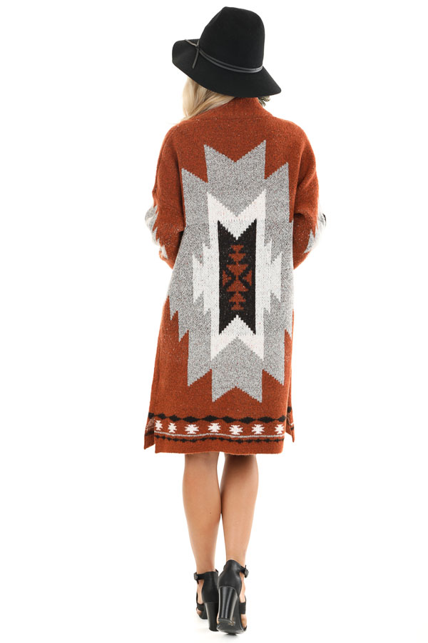 Rust Aztec Print Cardigan with Front Pockets back full body