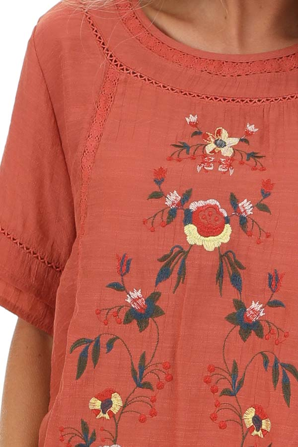 Sunset Orange Short Sleeve Top with Floral Embroidery detail