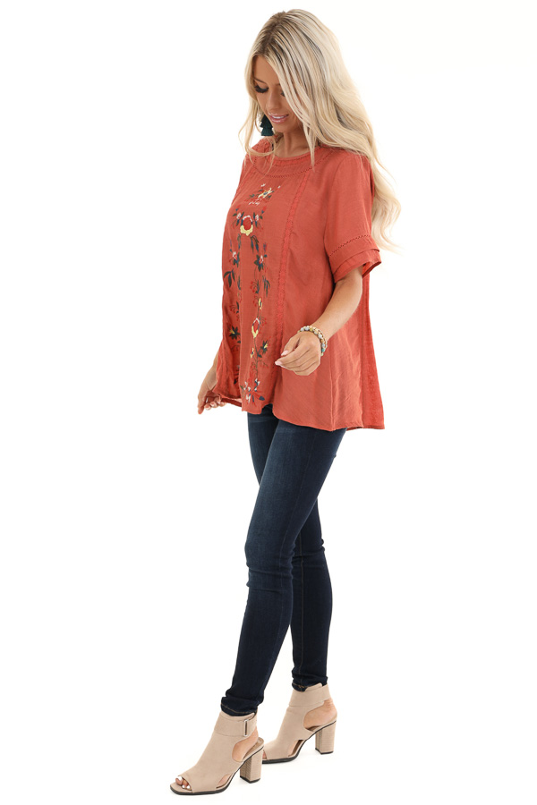 Sunset Orange Short Sleeve Top with Floral Embroidery side full body