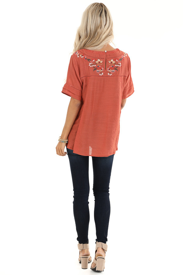 Sunset Orange Short Sleeve Top with Floral Embroidery back full body