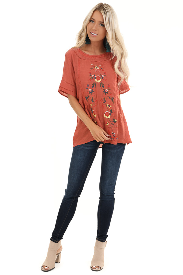 Sunset Orange Short Sleeve Top with Floral Embroidery front full body