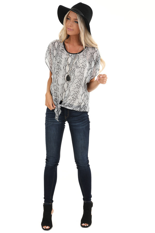 Stone Grey Snakeskin Short Sleeve Sheer Top with Front Tie front full body