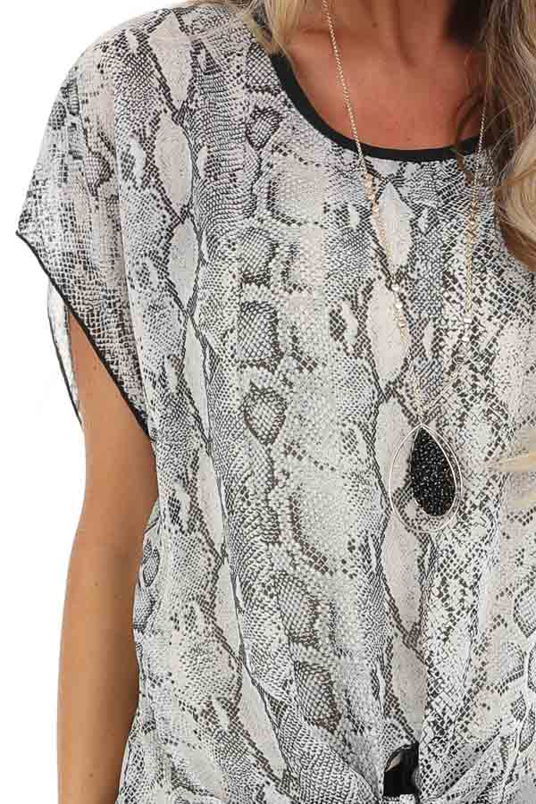 Stone Grey Snakeskin Short Sleeve Sheer Top with Front Tie detail