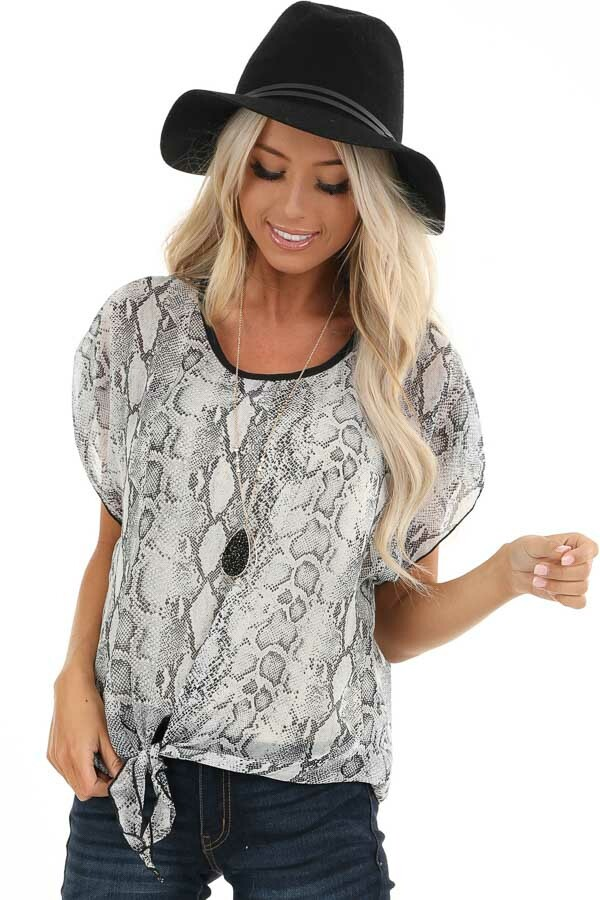 Stone Grey Snakeskin Short Sleeve Sheer Top with Front Tie front close up