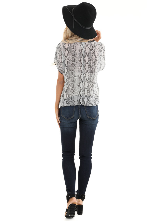 Stone Grey Snakeskin Short Sleeve Sheer Top with Front Tie back full body