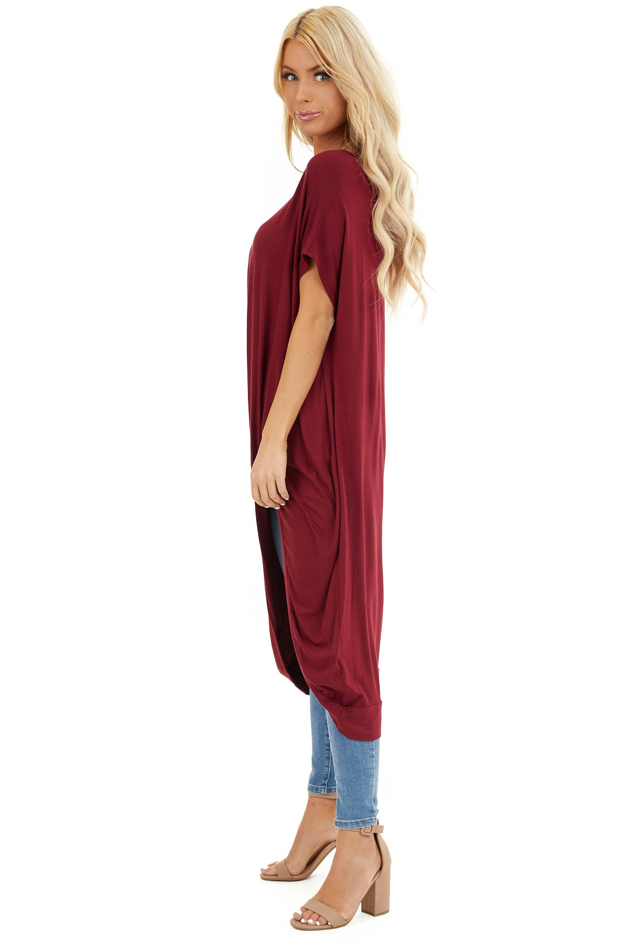 Burgundy Short Sleeve High Low Top with Twist Detail side full body