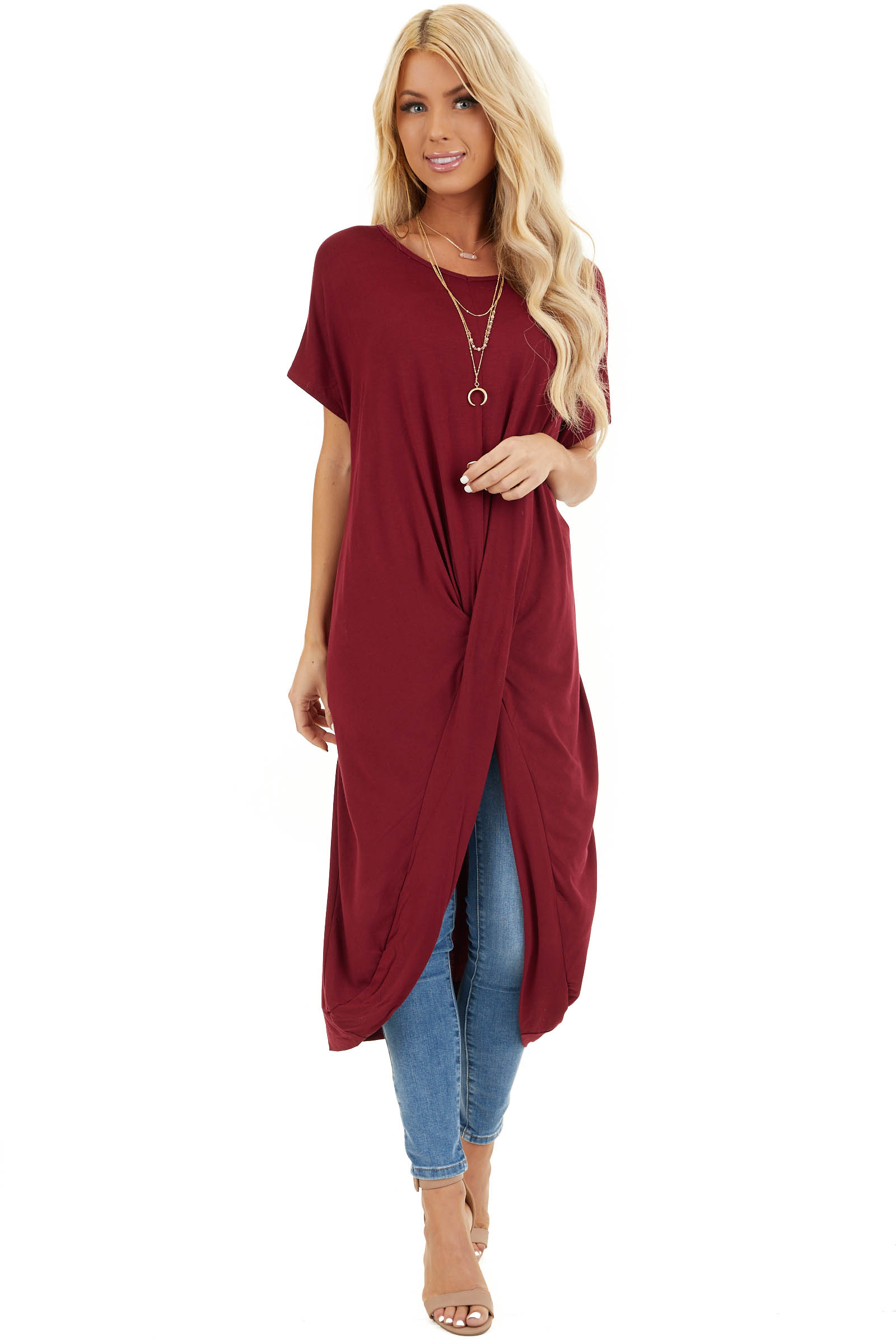 Burgundy Short Sleeve High Low Top with Twist Detail front full body
