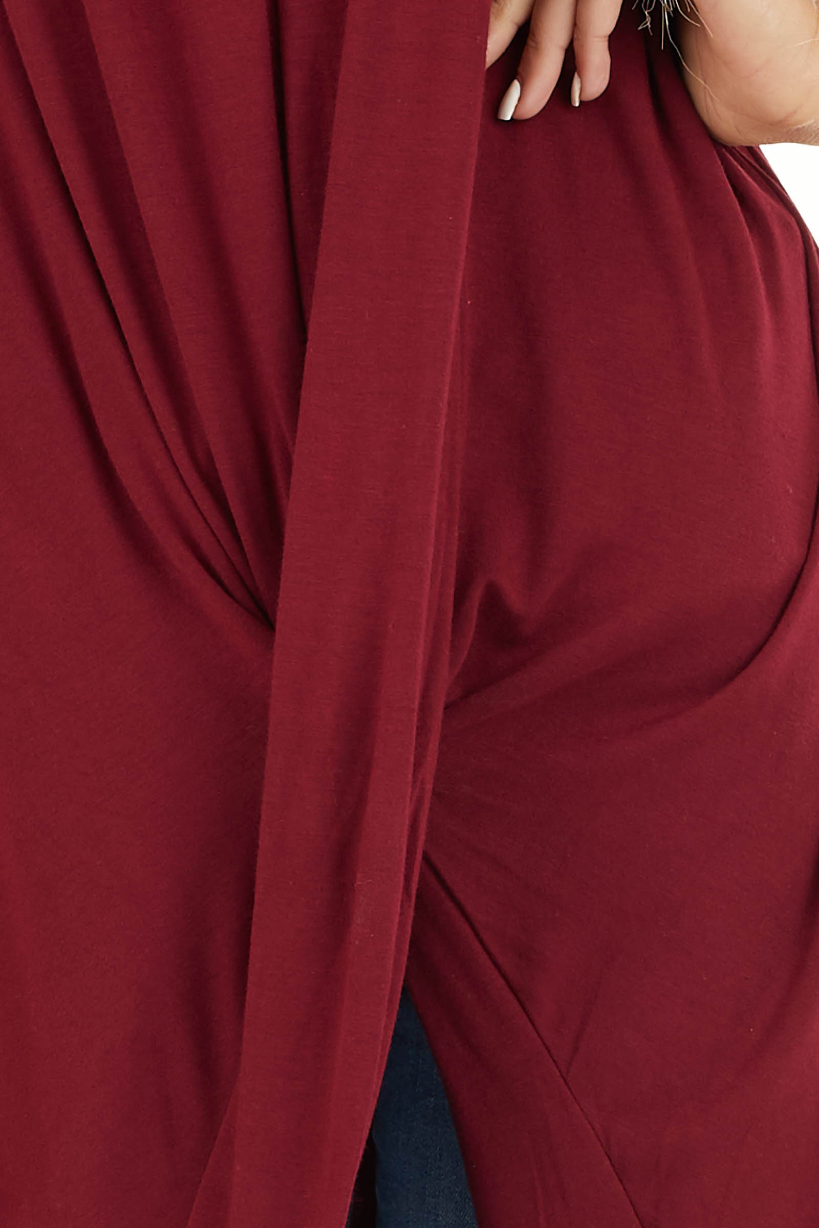 Burgundy Short Sleeve High Low Top with Twist Detail detail