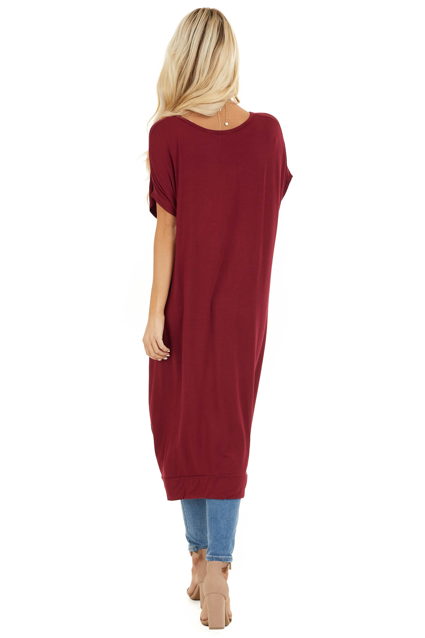Burgundy Short Sleeve High Low Top with Twist Detail back full body