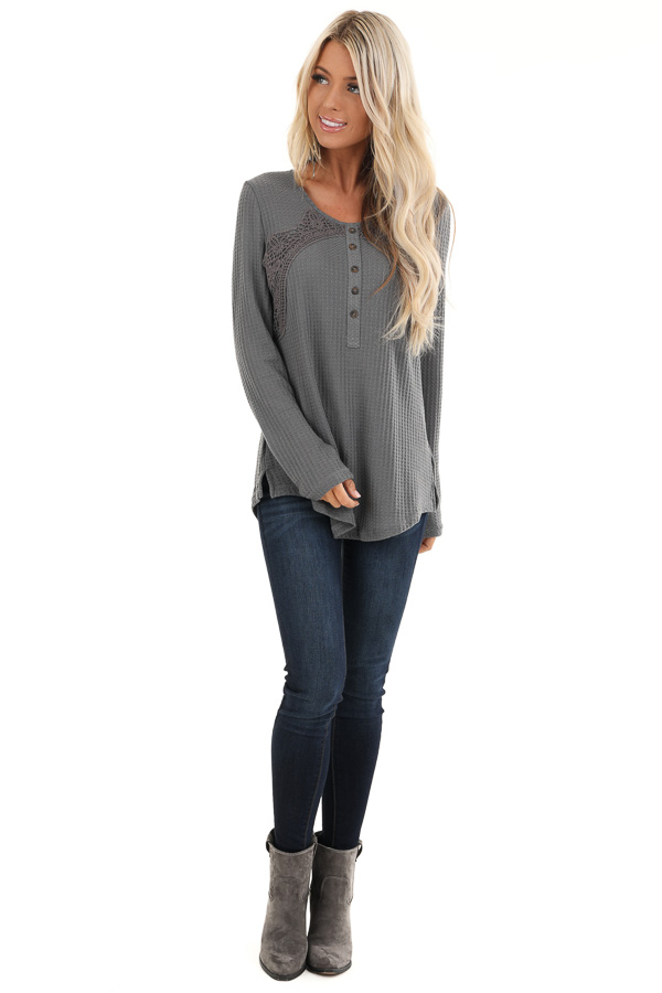 Charcoal Long Sleeve Waffle Knit Top with Lace Details front full body