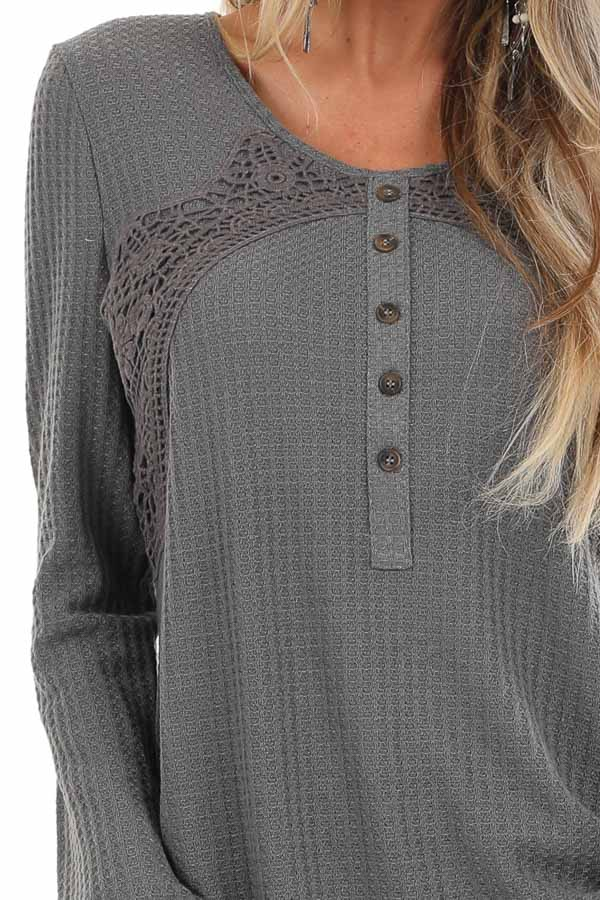 Charcoal Long Sleeve Waffle Knit Top with Lace Details detail