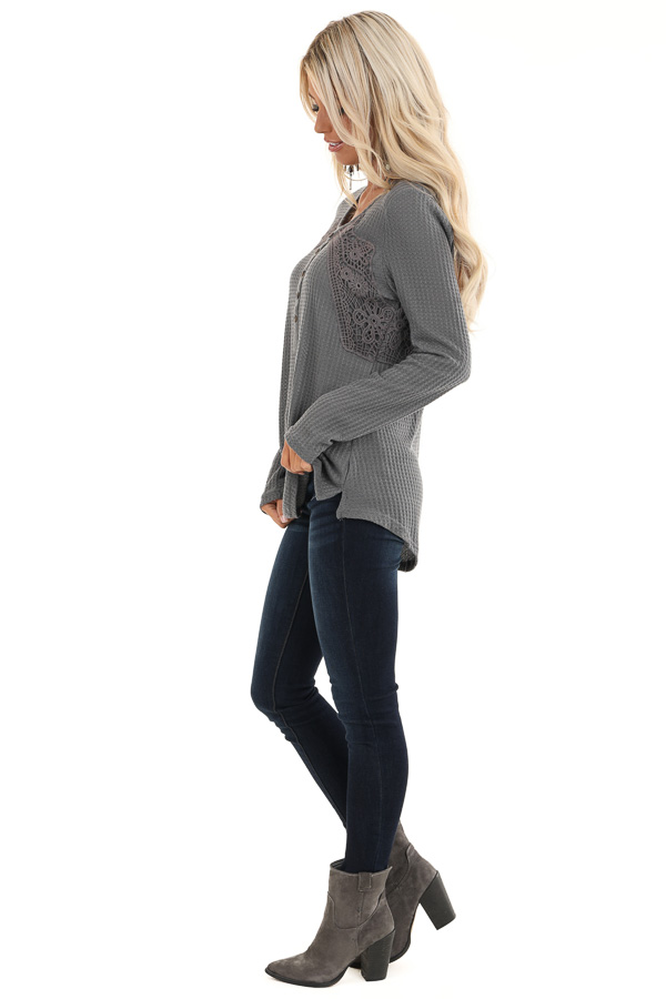 Charcoal Long Sleeve Waffle Knit Top with Lace Details side full body