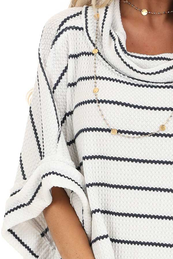 Ivory and Navy Striped Loose Fit Knit Top with Cowl Neck detail