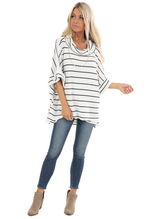Ivory and Navy Striped Loose Fit Knit Top with Cowl Neck front full body