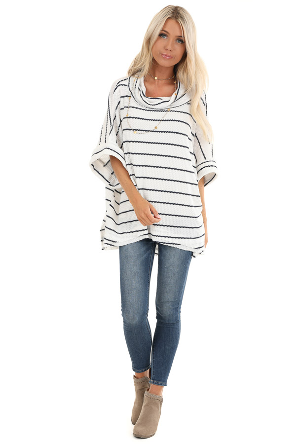 Ivory and Black Striped Loose Fit Knit Top with Cowl Neck front full body