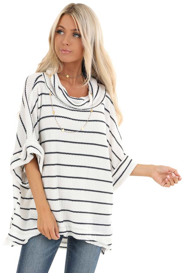 Ivory and Navy Striped Loose Fit Knit Top with Cowl Neck front close up