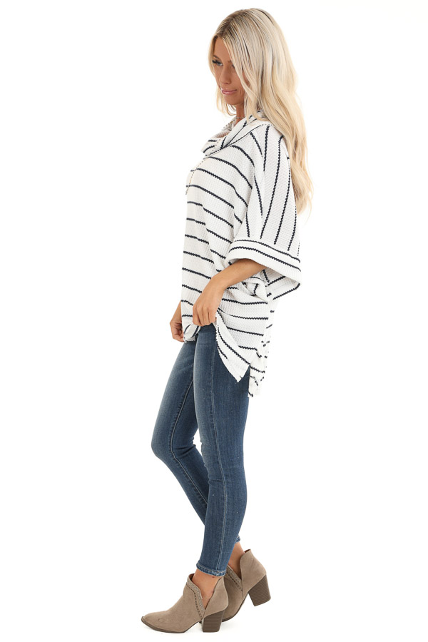 Ivory and Navy Striped Loose Fit Knit Top with Cowl Neck side full body